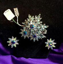 Crown Trifari Rhinestone Blue Flowers 🌸 Aurora Borealis brooch Earrings NEW