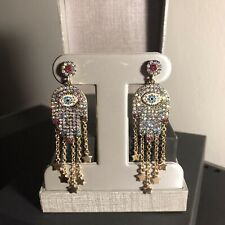 Authentic Betsey Johnson Mystic Hamsa Baroque Crystal Pave Dangle Earrings