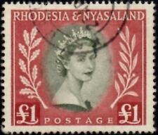 Rhodesia & Nyasaland 1954 QEII  £1 Olive-Green & Lake  SG.15 Used   Cat:£32
