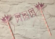 First birthday girl pink bunting cake topper princess age glitter 1st one crown