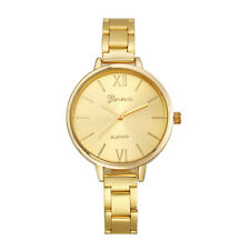 Ladies Fashion Geneva Gold Dial Platinum Quartz Gold Linked Band Wrist Watch.