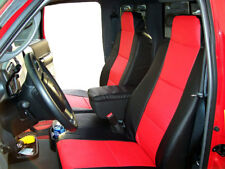 FORD RANGER 2010-2011 BLACK/RED LEATHER-LIKE 2 FRONT SEAT & CONSOLE COVERS