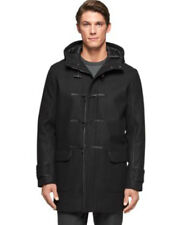 Calvin Klein Hooded Parka Jacket Wool-Blend Faux-Leather Slim Fit Black Size XXL