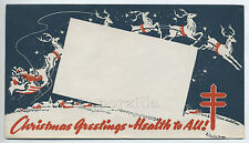 Vintage TUBERCULOSIS CHRISTMAS SEAL COVER ENVELOPE Santa & Sleigh with Reindeer