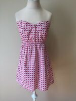 Judith March Womens Red White Floral Strapless Dress One Size Fits All