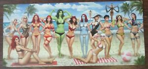 NATHAN SZERDY SIGNED 33X15 ART PRINT MARVEL WOMEN BEACH BIKINIS SHE HULK X-MEN