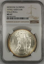 1979(L) USSR Moscow Olympics Volleyball 10 Roubles Silver Coin NGC MS-67 GEM