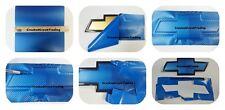 Blue Carbon Fiber Vinyl Decals (4) U-Cut around Chevy Bowtie Emblems Grill/Rear