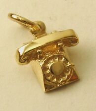 GENUINE SOLID 9K  9ct YELLOW GOLD VINTAGE TELEPHONE PHONE CHARM PENDANT