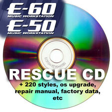 Roland E50 E60 cd with instructions,update,220 styles from G70 E80,repair manual