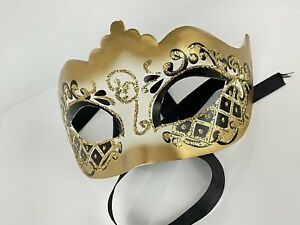 Venetian Golden Party Mask Mardigras Vintage Coustume Decor Made in Italy