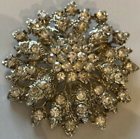 Vintage Style Costume Jewellery Large Rhinestone Flower Silver Tone Brooch