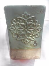 """TURQUOISE Vase Container w/ Distressed Crackle Finish~ Hobby Lobby NEW H 9 1/4"""""""