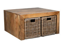 DAKOTA MANGO COFFEE TABLE WITH RATTAN WICKER BASKETS (41L&4B41G)