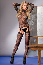 BW-58 Sexy Black Long Sleeve Lace Top Attach Garter Thigh High Bodystocking