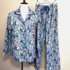 Nick and Nora Blue Winter Snow Owl Flannel 2 Piece Pajama Set XL