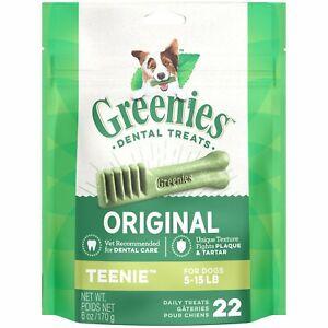 Greenies Original Teenie Size 22 count 6 oz | Dental Chew Treats for Dogs