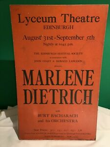 Marlene Dietrich at Lyceum Theatre Edinburgh 1964 with Burt Bacharach - Board