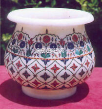 "7"" Traditional Splendid Marble Flower Pot Antique Design Inlay Giving Gift Decor"