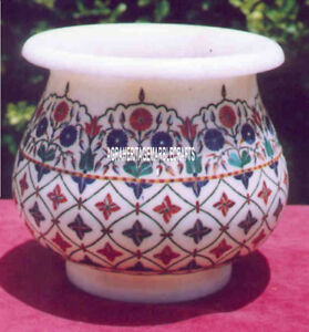 """7"""" Traditional Splendid Marble Flower Pot Antique Design Inlay Giving Gift Decor"""