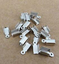 Lot de 100 embouts à écraser en métal couleur platine 12 mm x 4 mm-cna46