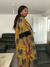 Uk Size 16 blue Yellow Ankara African Print Dress