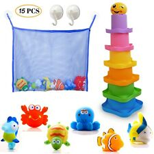Bath Toy Organizer + 6 Bath Toys Sqirters + 6 Stacking cups + 1 Cotton Backpack
