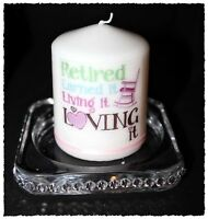 Small Retirement candle with own message by Cellini #10