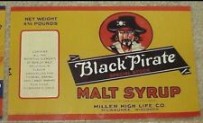 Miller High Life Beer Black Pirate Malt Syrup Label Raider Can Label NOS NEW