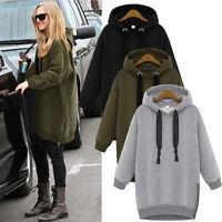 Damen Mode Fleece Kapuzenpullover Lässig Hoodies Sweatshirt Coat Mantel Oversize