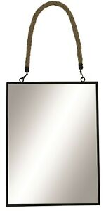 Large Black Wall Mirror With Rustic Rope 40cm x 30cm Wall Mirror Metal Frame
