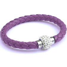 NEW Leather Wrap Wristband Cuff Punk Bangle Magnetic Rhinestone Buckle Bracelet