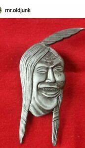 VINTAGE 1920's ANTIQUE INDIAN MOTORCYCLE LAUGHING INDIAN PIN- ORIGINAL & RARE