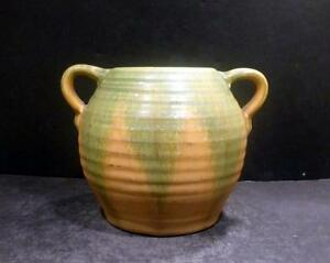 "Southern Camark Orange Green Overflow Vase - 542-5"" - MINT"