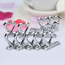 10pc Heart Shape Place Photo Name Card Holder Clip Stand for Wedding Party Table