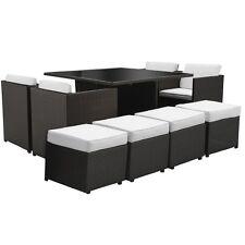 Tavolino poltrone pouf contenitore nero cuscino moderno rattan set giardino |2dc