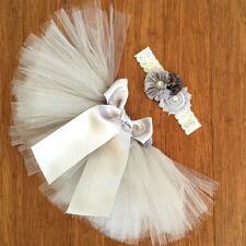 Deluxe Newborn Toddler Baby Girl Grey Tutu Skirt Headband Photo Prop Outfit