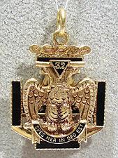 Solid 14K Green Gold Enameled Scottish Rite Masonic Tri-Fold Fob