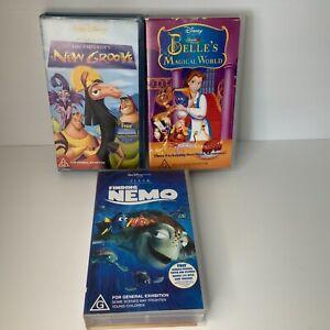 Walt Disney VHS Bulk Lot 3 X Video Cassettes Finding Nemo Emperors New Groove