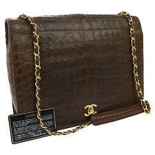 Authentic CHANEL CC Logos Chain Shoulder Bag Brown Crocodile Vintage GHW BT12177