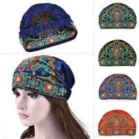 Style ethnique chinois Turban chapeau chapeau tête écharpe bonnet brodé fleur
