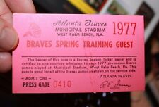 Atlanta Braves 1977 Spring Training Pass West Palm Beach