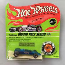 Vintage 1969 Mattel Hot Wheels Redline LOTUS Turbine. Grand Prix Series on card