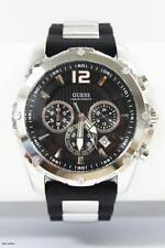 Brand New Guess U0167G1 Mens Black Rubber S.Steel Chronograph Dial Sport Watch