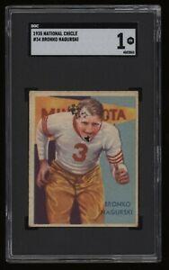 1935 Bronko Nagurski SGC 1 National Chicle Football #34 *NICE* Invest NOW RARE