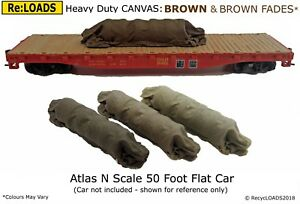 BROWN 'Canvas' Tarped Covered Sheeted Road & Rail Loads. Z, N or Small HO, OO