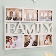 "White FAMILY 6 Multi Picture Aperture Photo Frame Holds 6x 4"" Photos"