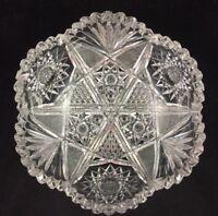 "Pitkin & Brooks ABP American Brilliant Cut Glass NELLORE Pattern 8"" Bowl c. 1904"