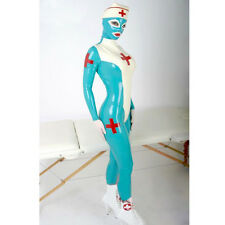 Sexy Latex Catsuits Woman Full Cover Rubber Nurse Docotor Uniform with Hat Club