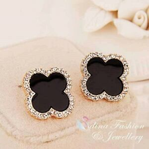 18K Gold Filled Simulate Agate Stylish 14mm Black 4 Leaf Clover Stud Earrings